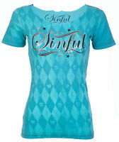 Sinful AFFLICTION Womens T-Shirt ARGYLE Skull CAPRI BLUE Tattoo Biker UFC $38