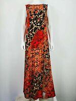 Wallis UK 12 Red Orange Black Pattern Long Dress Maxi Sleeveless Animal Print