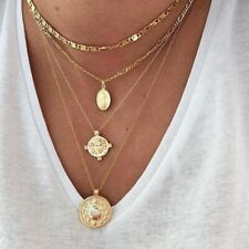 UK BOHO CRYSTAL COIN DISC CHARM MULTI LAYER NECKLACE Gold Fashion Jewellery