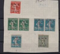 FRANCE 1920 O.M.F.  MOUNTED MINT  OVERPRINTS STAMPS ON PIECE    REF 6419