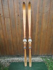 """OLD Wooden Snow Skis 70"""" Long Has LIGHT BROWN Finish LAMPINEN Great Decorating"""
