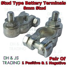 2x Heavy Duty Battery Terminals 8mm Stud Nut Positive Negative Terminal PAIR