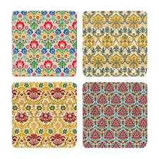 Jardin Floral Pattern Drink Table Coasters Set of 4 - Resin Stone Ceramic New