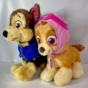 Build A Bear Chase & Skye Paw Patrol Talking Plush Stuffed Nickelodeon Puppy Lot