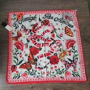 GUCCI L'Aveugle Par Amour Scarf Snake Flowers Butterflies Colorful Pink