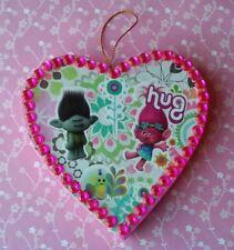 TROLLS Handmade Paper Mache Heart Shaped Ornament Pink Princess Poppy Branch