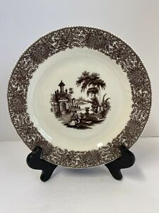 Exquisite Twos Company Brown Transferware Palace & Garden Floral Wall Plate