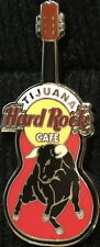 Hard Rock Cafe TIJUANA 2004 Black BULL on Mini Red GUITAR PIN HRC Catalog #21654