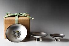 "Japanese ""Order of the Golden Kite"" Sterling Silver 3 Sake Cups SAKAZUKI #25370"