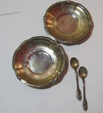 Antique Caldorini 800 Silver Small Salt Condiment Art Nouveau Dish & Spoon T*