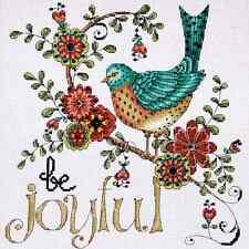 "Counted Cross Stitch Kit. Be Joyful Blue Bird + Flowers.Inspirational 10"" x 10"""