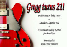 Red Electric Guitar Birthday Party Invitations x 12 with free envelopes H0625