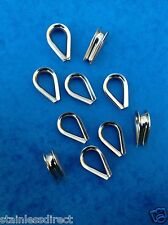 10 x 6MM STAINLESS STEEL 316 HEART SHAPED THIMBLES / EYES / SWAGING