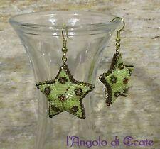 Bigiotteria artigianale / idea regalo ORECCHINI STELLE STELLINE color oro e rame