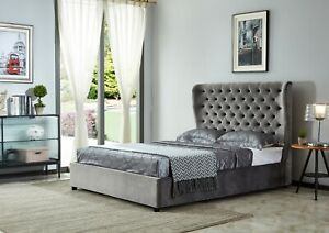 Joanna King Size Ottoman Smooth Velvet Bed - Grey