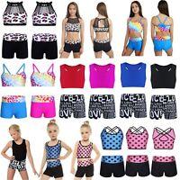 Girls Kids Dance Sports Outfits Jazz Crop Top+Shorts Costume Gym Dancewear Sets