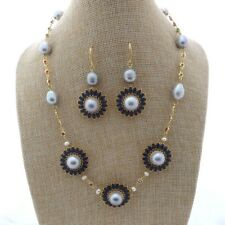 M011907 19'' Gray Pearl Chain CZ Pave Flower Necklace Earrings Set