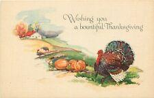 Antique DB Holiday Postcard L004 Thanksgiving Turkey Pumpkins Farm Gibson Art