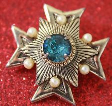 Vintage MALTESE CROSS Gold Tone Pin Brooch Faux Pearls