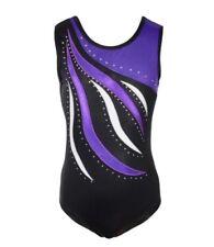 Diamanté Gymnastics Leotards.Gym Dance Costume.Rhinestone Body Suit.7-8 Years.UK