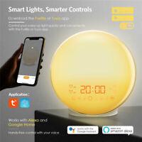 Wake up LED Light Sunrise Alarm Clock w/ FM Radio Bedside Sounds Night Lamp New