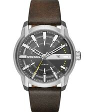 New Diesel Mens Watch Armbar Grey Dial Steel Case Brown Leather Strap DZ1782