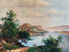 """Mountain Lake Landscape  Hand Painted 8""""x10"""" Oil Painting Unstretched Canvas Art"""