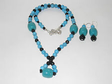 Blue Turquoise/Black Beads Necklace with Earrings Set