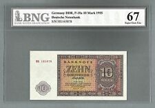 GERMANY DDR P-18a 10 MARK 1955 BNG 67 GEM UNCIRCULATED!!!