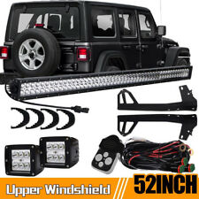 "For Jeep Wrangler JK Mount Bracket 52""LED Bar Light 300W + 2x Work Cube Pods"