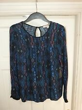 Ladies Black/Blue Bohemian Print Long sleeved Blouse Size XS (10) FOREVER 21