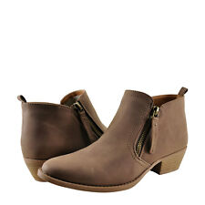 Womens Shoes Qupid Sochi-133 Nubuck Side Zipper Ankle Bootie Nutmeg *New*