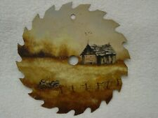 "COCA COLA Sign BARN Antique CAR~ SIGNED ADAMS Hand Painted 7"" Circular Saw Blade"