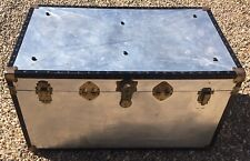 Retro Repo Large Tin Plate Covered Steamer Trunk Luggage With Reinforced Corners