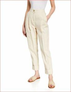 new ATM Anthony Thomas Melillo women pants AW9185-DAB linen beige sz 2 $375