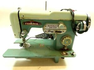 Zig-Zag Sewing Machine 1950's Treasure Mid Century Teal Federal 990 Automatic
