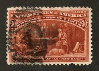United States stamp #239, used,1893, 30c orange brown, number 4 cancel, SCV $90