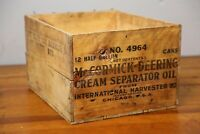 Vintage McCORMICK DEERING International Harvester Oil Wood Wooden Box Crate Old