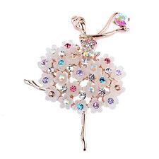 1pc Lady Jewelry Rhinestone Crystal Wedding Bouquet Pink Flower Brooch Pin Gift