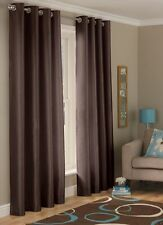 "Long Drop Curtain 90"" x 90"" Inch Chocolate Faux Silk Fully Lined Eyelet Curtains"