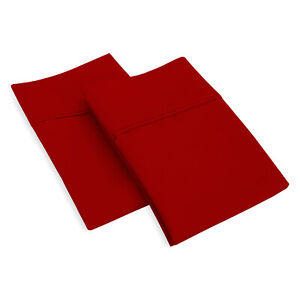 600 Thread Count Egyptian Cotton Luxury Soft Pillowcase Blood Red Solid