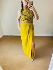 Virgos Lounge 12 £130 Adrienne Yellow Maxi Dress Front Side Split Sequin Wedding
