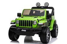 Auto elettrica JEEP RUBICON per bambini macchina VERDE sedile in pelle 12V