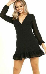 New Womens Quiz Black Dobby Chiffon Long Sleeve Skater Dress Size UK 8