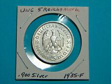 UNC WW2 Germany 🇩🇪  5 Mark Silver Coin Third Reich Reichsmark Hindenburg 1935F