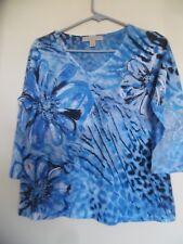 Women's Jane Ashley Blue Embellished Floral Top Shirt Sz PM