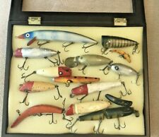 New listing Lot of 14 Antique & Vintage Fishing Lures .In Wood Display Case. Look! A4