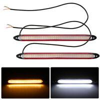 2× Universal Weiß/Amber LED Tagfahrlicht Streifen Blinker Lichtleiste Lampe 12V