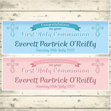 2 PERSONALISED FIRST HOLY COMMUNION BANNERS - CONGRATULATIONS