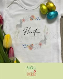 Personalised Easter baby grow babygrow sleepsuit first Easter - Grey Bunny